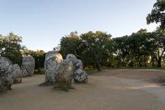 Menhir in un cromlech vicino ad Evora nel Portogallo Immagini Stock Libere da Diritti