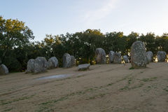 Menhir in un cromlech vicino ad Evora nel Portogallo Fotografie Stock