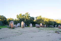 Menhirs in a cromlech close to Evora in Portugal Royalty Free Stock Photography