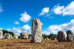 Menhirs groepering in Carnac, Groot-Brittannië, Frankrijk royalty-vrije stock afbeelding