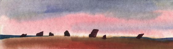 Landscape. Watercolor sketch of rocks at sunset. Menhirs, illustration. Megaliths.Stone Age. Qualitatively hand-drawn watercolor landscape by hand stock images