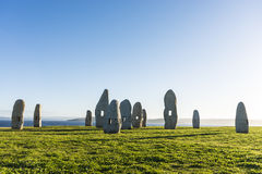 Menhirs park in A Coruna, Galicia, Spain Stock Photos