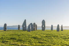 Menhirs park in A Coruna, Galicia, Spain Stock Image