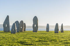 Menhirs park in A Coruna, Galicia, Spain Royalty Free Stock Image