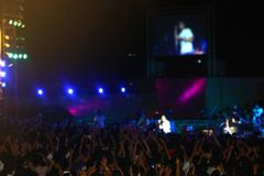 Menigte bij het festival van de overlegmuziek Gelukkige mensen die handen omhoog opheffen stock fotografie