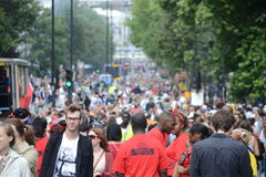 Menigte bij Notting Heuvel Carnaval Stock Foto's