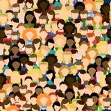 menigte De arbeiders groeperen zich Naadloos patroon met mensen Stock Afbeeldingen