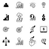 Menigte die en pictogrammen geplaatst vectorillustratie financieren investeren Stock Foto's