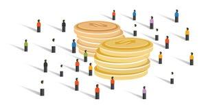 Menigte-financierende de menigtegroep die van de geld financiële schenking kleine mensen samen samenwerking tussen bedrijven groo stock illustratie