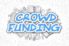 Menigte Financiering - Beeldverhaal Blauwe Tekst Bedrijfs concept royalty-vrije illustratie