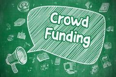 Menigte Financiering - Hand Getrokken Illustratie op Groen Bord royalty-vrije illustratie