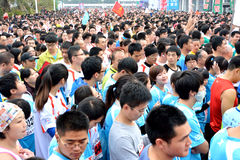 Menigte in Internationale marathon in Xiamen, China, 2014 Stock Foto's