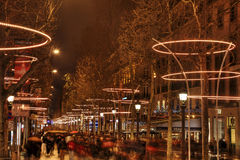 Menigte op Champs Elysees Stock Afbeelding