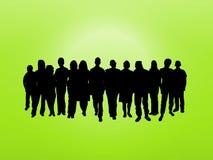 Menigte op groen Royalty-vrije Stock Afbeelding