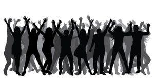 menigte Silhouetten van vrolijke mensen Vector vector illustratie