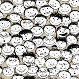 Menigte van grappige volkeren, naadloze achtergrond Royalty-vrije Stock Foto