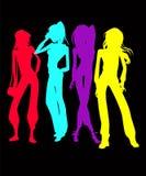 Menigte van het Silhouet van Vrouwen Royalty-vrije Stock Afbeeldingen