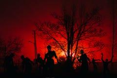 Menigte van hongerige zombieën in het hout royalty-vrije stock afbeeldingen
