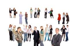 Menigte van kleine groepen en enige mensen Stock Foto's