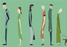 Menigte van lopende mensen, illustratie stock illustratie