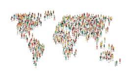 Menigte van mensen die een wereldkaart samenstellen vector illustratie