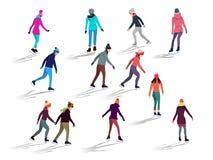 Menigte van mensen die op ijsbaan openluchtactiviteiten schaatsen royalty-vrije illustratie