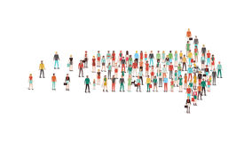 Menigte van mensen in een pijlvorm die wordt verzameld stock illustratie