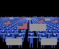 Menigte van mensen met tekens en Amerikaanse vlaggenillustratie Stock Afbeelding