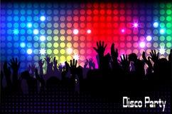 Menigte van mensen, silhouetten in nachtclub Stock Foto's