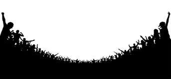 Menigte van mensen toegejuicht silhouet Vrolijke slaande partij vector illustratie