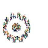Menigtegroep die de mensen vlak 3d isometrische vector vormen van het radertjewiel Royalty-vrije Stock Afbeeldingen