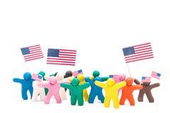 Menigtegroep kleurrijke plasticinemensen met Royalty-vrije Stock Foto