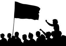 Menigten aan vlag Royalty-vrije Stock Foto's