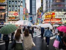Menigten bij Kruising in Japan royalty-vrije stock afbeelding