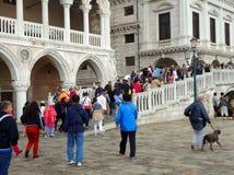 Menigten die op Brug Rio di Palazzo Canal, Venetië, Italië kruisen royalty-vrije stock afbeeldingen