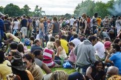 Menigten van mensen bij Stijgingsfestival, Londen, 2008 stock foto's