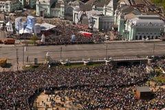 Menigten in Victory Parade, Moskou, Rusland royalty-vrije stock fotografie