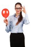 Menina à moda com uma bola vermelha fotos de stock royalty free