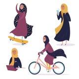 Menina árabe em situações diferentes, no hijab ilustração stock