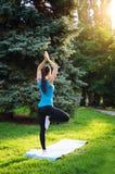 A menina é contratada na ioga no parque, fazendo exercícios Estilo de vida saudável do esporte do conceito fotos de stock royalty free