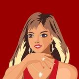 A menina é muito bonita e rico, ela o ` s todo no ouro e mostras um anel novo, ela está muito feliz ilustração stock