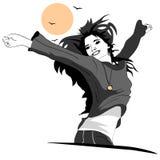 A menina é muito feliz e alegre ilustração stock