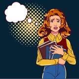 A menina é pop art receoso O estudante bonito em uma rua escura e mantém livros Ilustração do vetor no estilo cômico ilustração do vetor