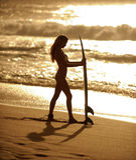 Menina 3 do surfista Imagem de Stock Royalty Free