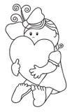 A menina abraça o coração. Contorno Foto de Stock Royalty Free