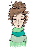 Menina abstrata bonito ilustrada Fotografia de Stock