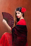 A menina aciganada de Spain do dançarino do flamenco com vermelho levantou-se Fotos de Stock Royalty Free