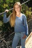 Menina adolescente ao ar livre ocasional fotografia de stock royalty free