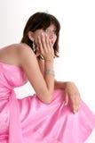 Menina adolescente bonita em formal cor-de-rosa Fotos de Stock