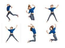 Menina adolescente bonito em um salto, colagem fotos de stock